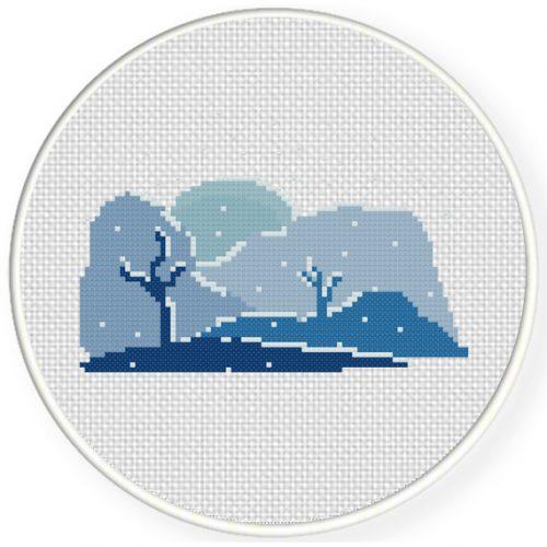 Snowy Day Cross Stitch Illustration